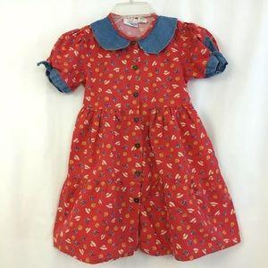 Vintage Prairie Dress Denim Trim Garden Renee